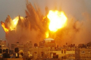 An air strike in Rafah in the southern of Gaza strip