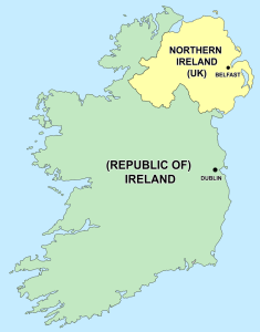 Ireland. Political Map.